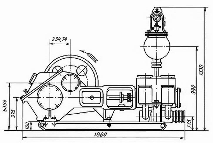 Схема бурового насоса НБ-50