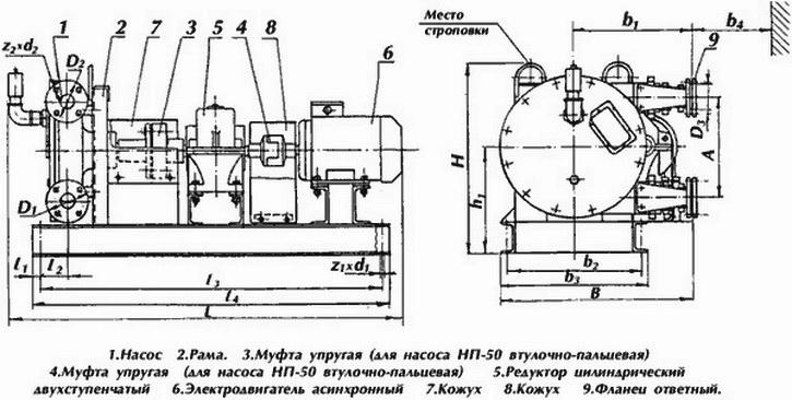 Схема насосного агрегата НП-25 НП-32 НП-50 на базе перистальтических насосов НП-25 НП-32 НП-50