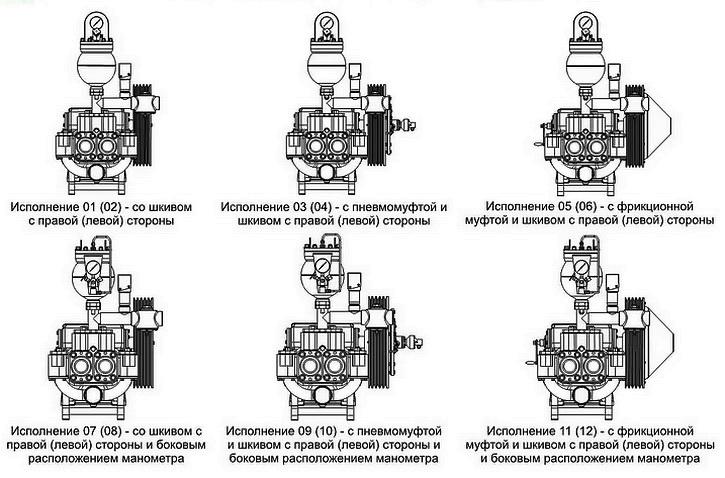 Исполнения бурового насоса НБ-50