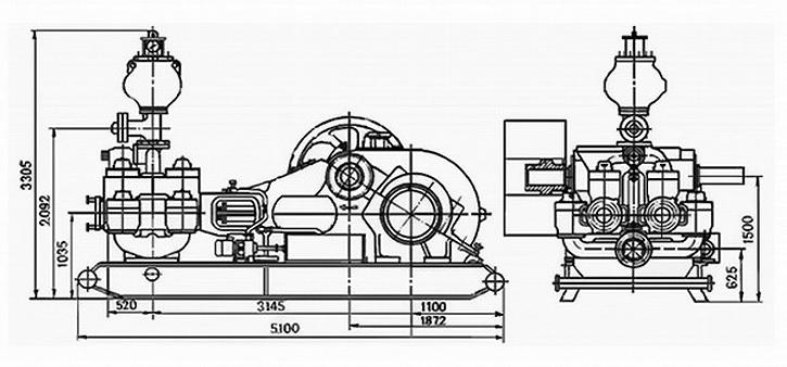 Габаритные размеры насоса УНБ-600